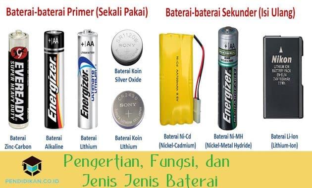 Pengertian, Fungsi, dan Jenis Jenis Baterai