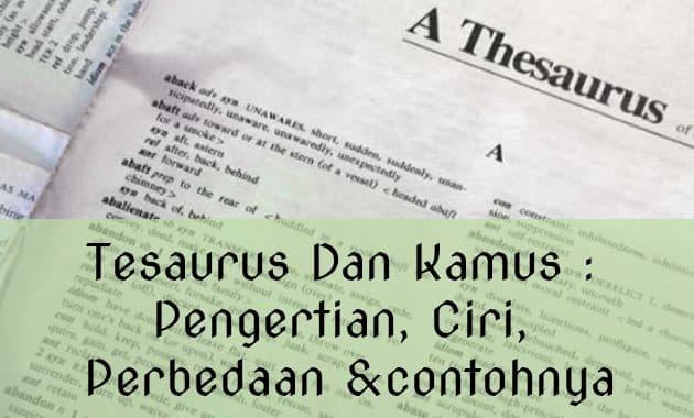 Tesaurus Dan Kamus : Pengertian Ciri, Perbedaan dan contohnya