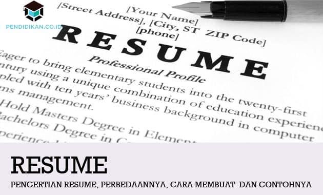 Pengertian Resume Adalah Contoh Resume Buku Cara Membuat